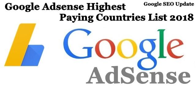 Google Adsense Highest Paying Countries List 2018