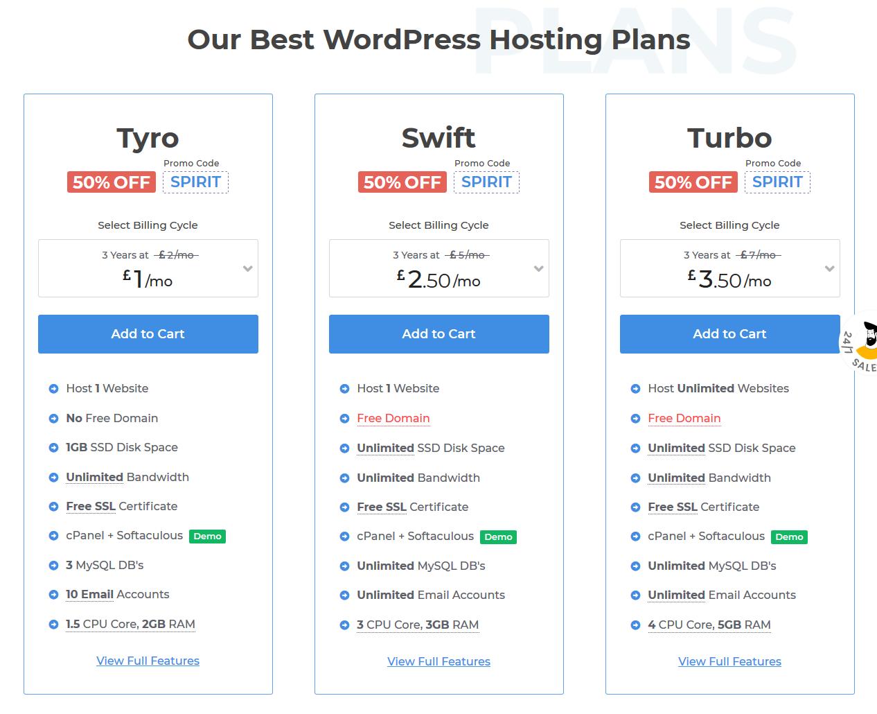 MilesWeb WordPress Hosting UK plans